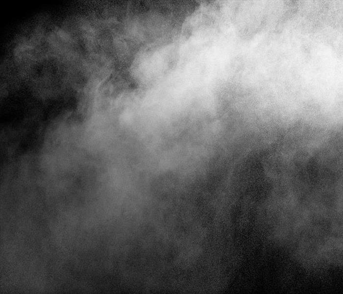 A cloud of smoke in front of a black background.